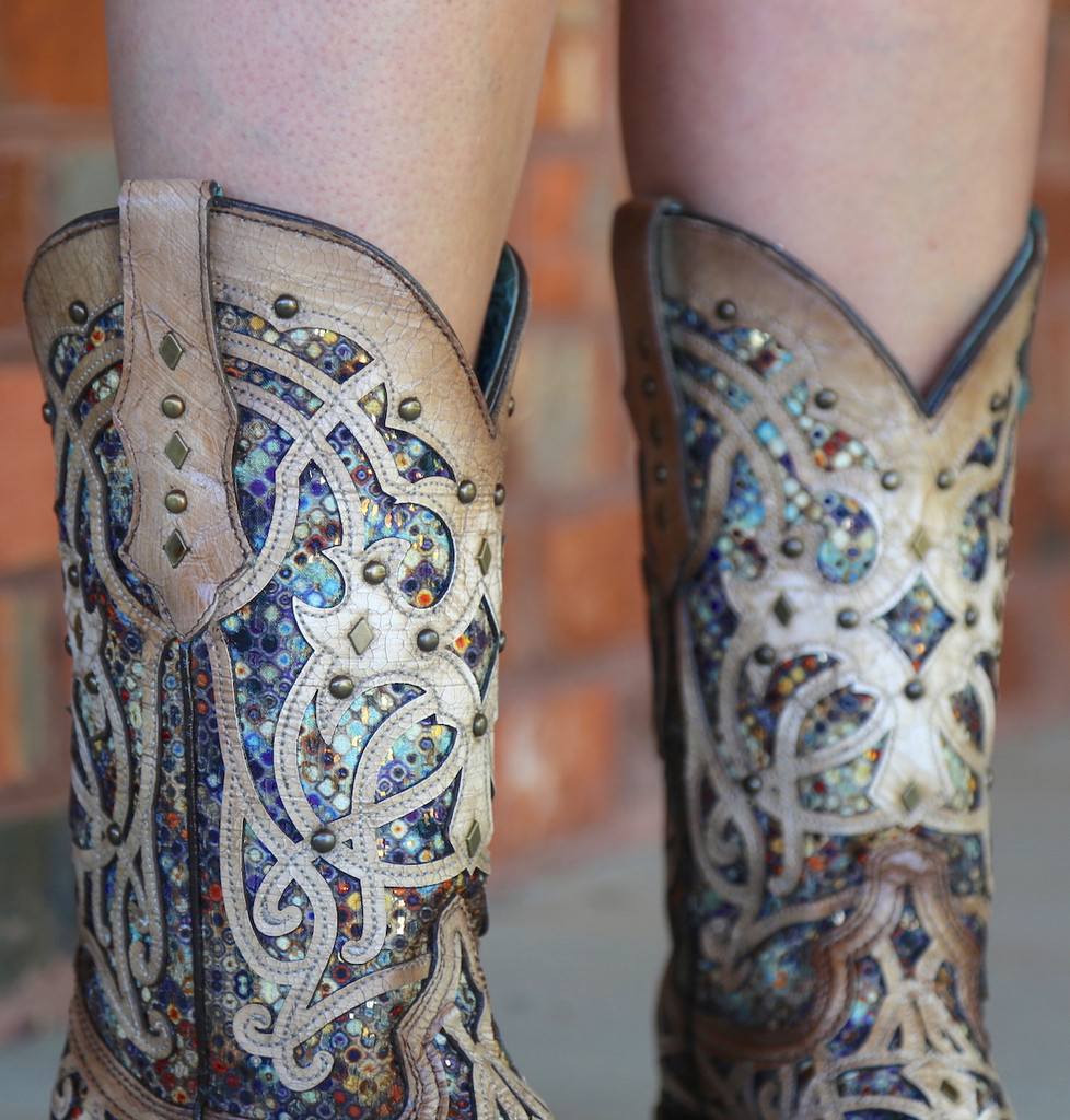 Corral Bone Multi Color Inlay and Studs Sqaure Toe Boots C3405 Detail