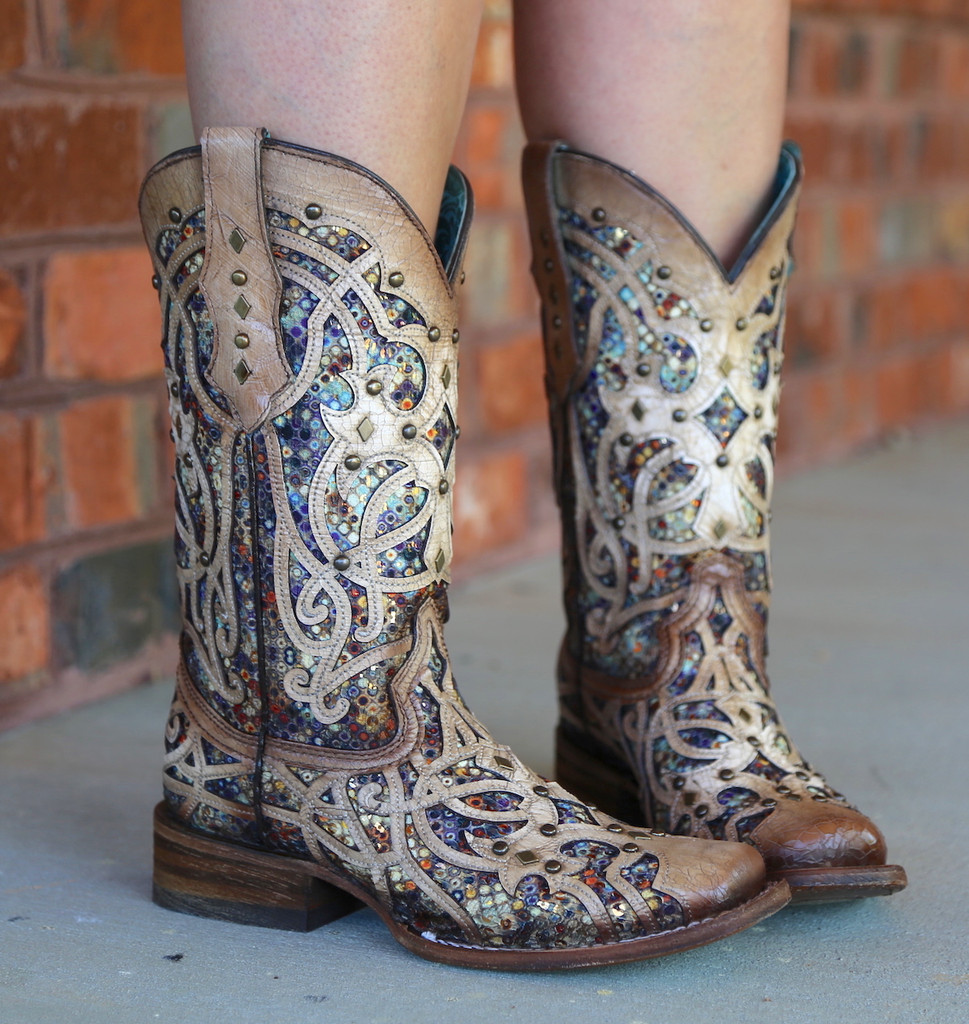 Corral Bone Multi Color Inlay and Studs Sqaure Toe Boots C3405 Image