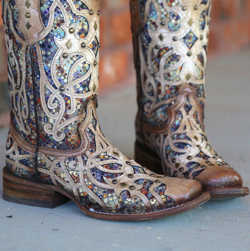 Corral Bone Multi Color Inlay and Studs Sqaure Toe Boots C3405 Toe