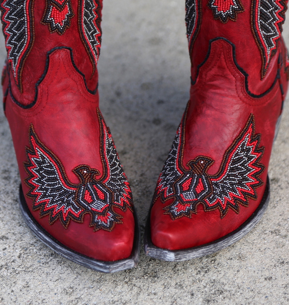 Old Gringo Eagle Chaquira Red Black Boots L1567-21 Toe
