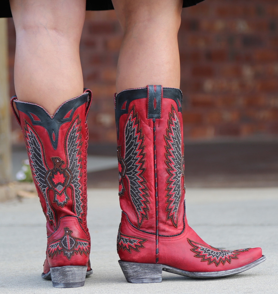 Old Gringo Eagle Chaquira Red Black Boots L1567-21 Heel