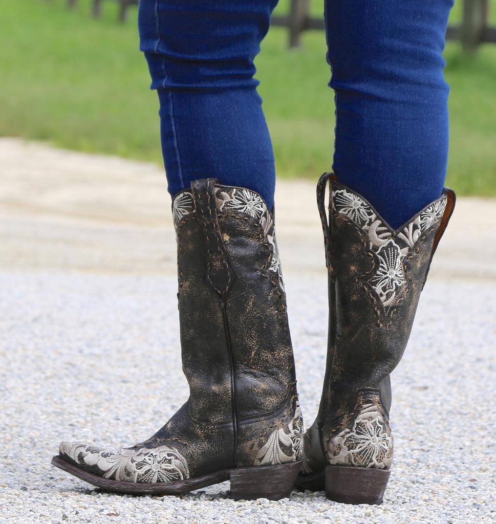 Old Gringo Erin Black Bone Boots L640-21 Heel