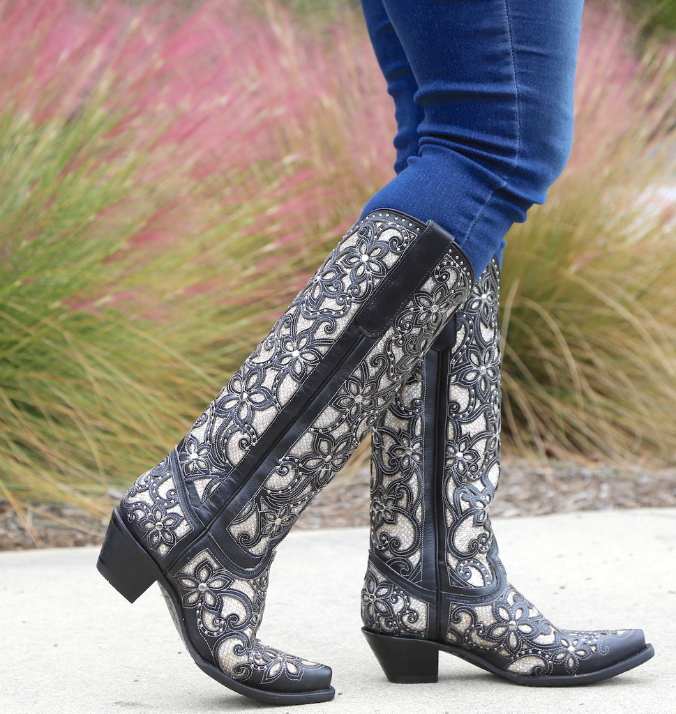 Corral Black Full Inlay and Studs Tall Top Boots A3590 Walk