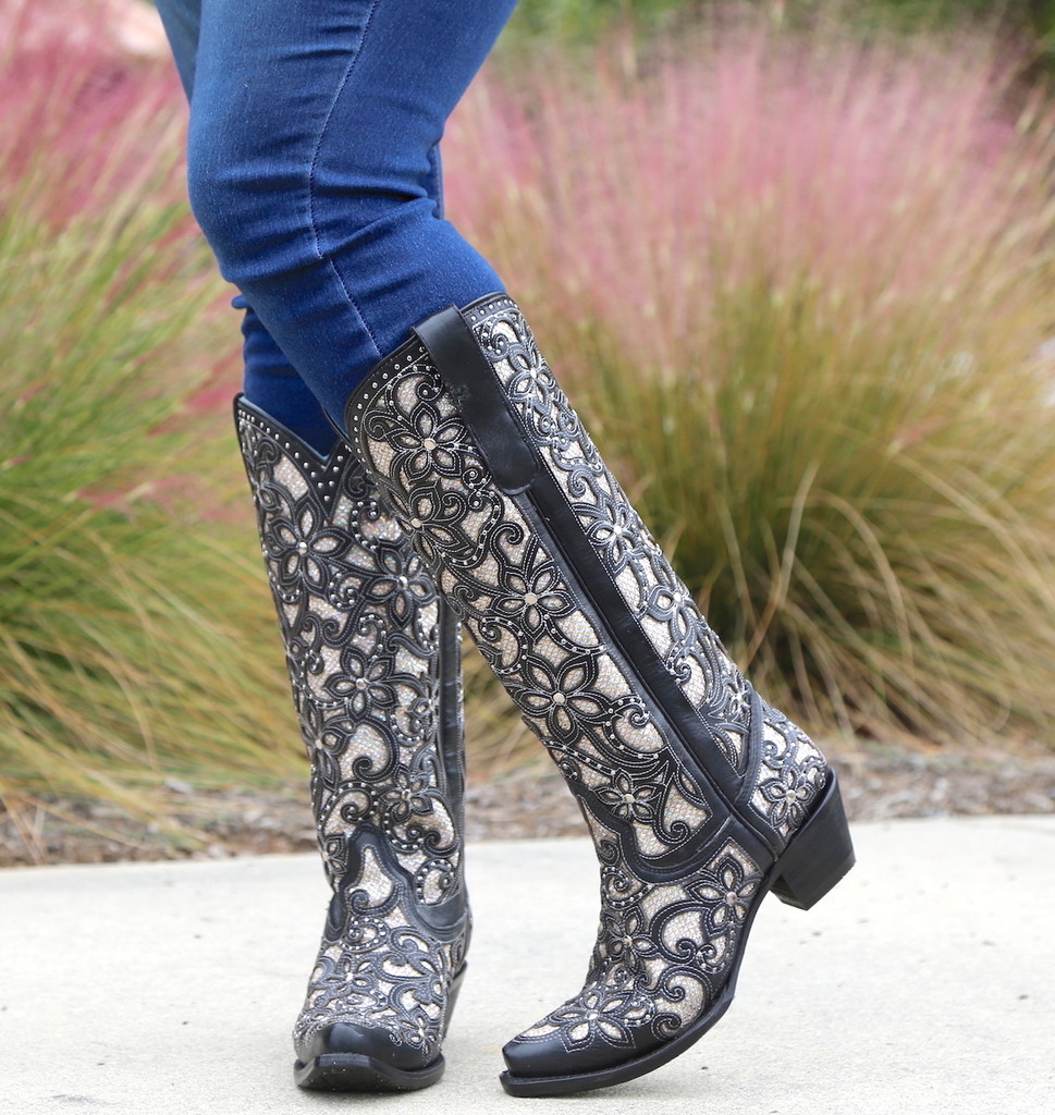 Corral Black Full Inlay and Studs Tall Top Boots A3590 Floral