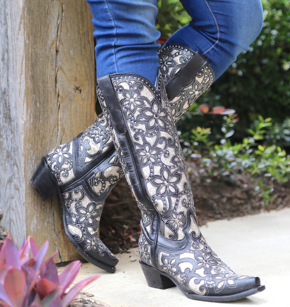 Corral Black Full Inlay and Studs Tall Top Boots A3590 Picture