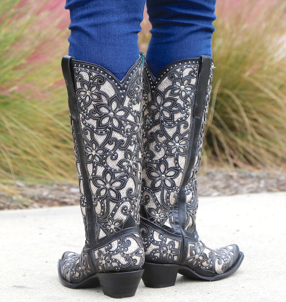 Corral Black Full Inlay and Studs Tall Top Boots A3590 Heel