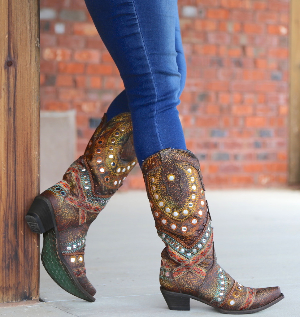 Corral Green Studs Embroidery Crystals Boots C3395 Side