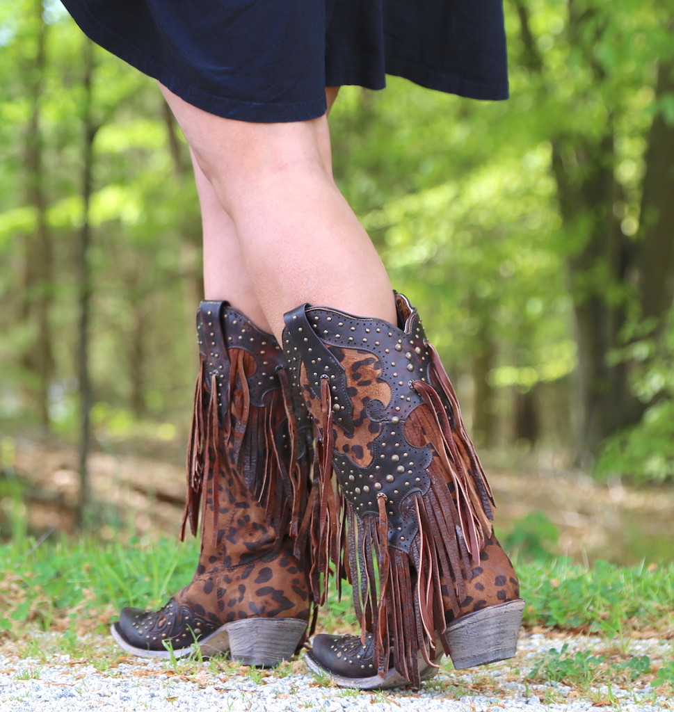 Corral Honey Goat Overlay Studs Fringe Boots A3618 Walk
