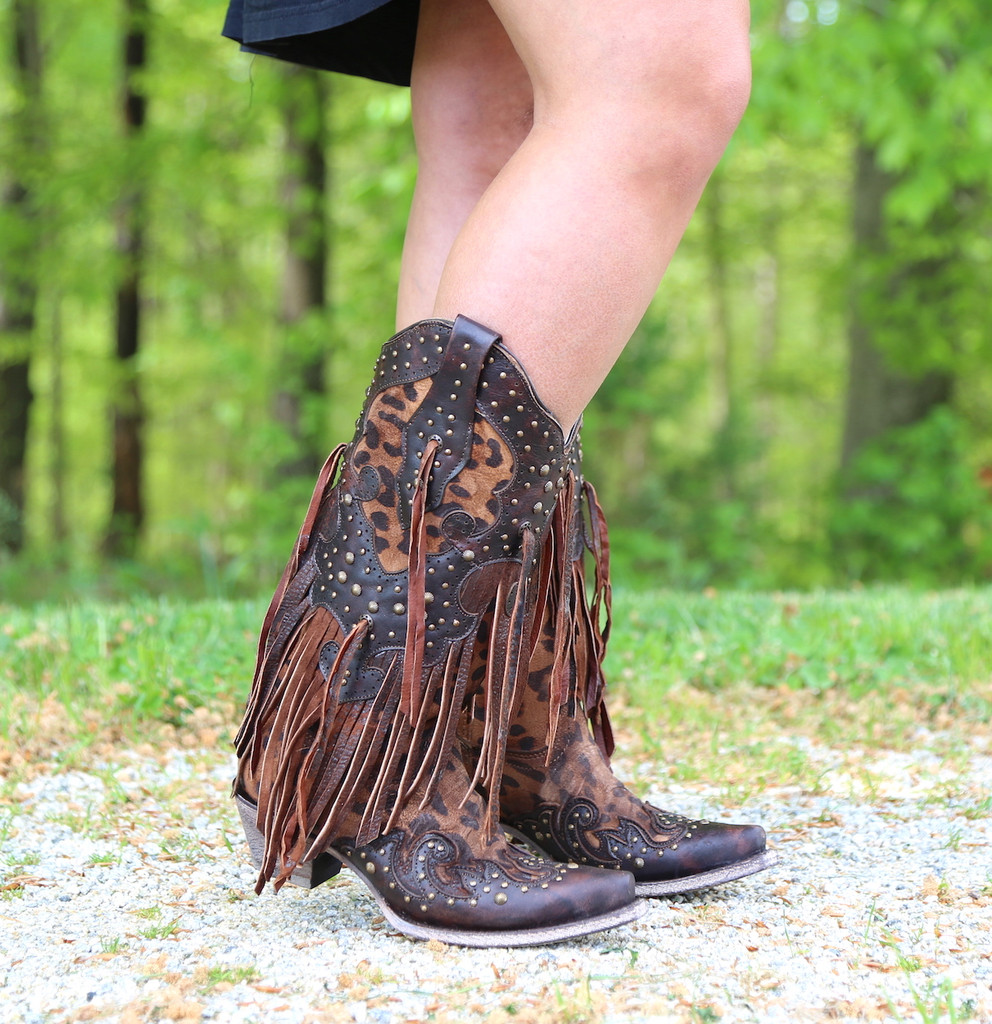 Corral Honey Goat Overlay Studs Fringe Boots A3618 Picture