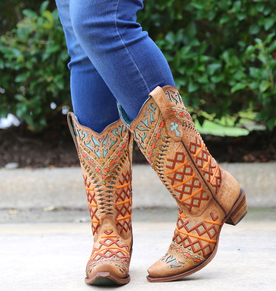 Corral Straw Inlay Embroidery Studs Boots C3284 Toe