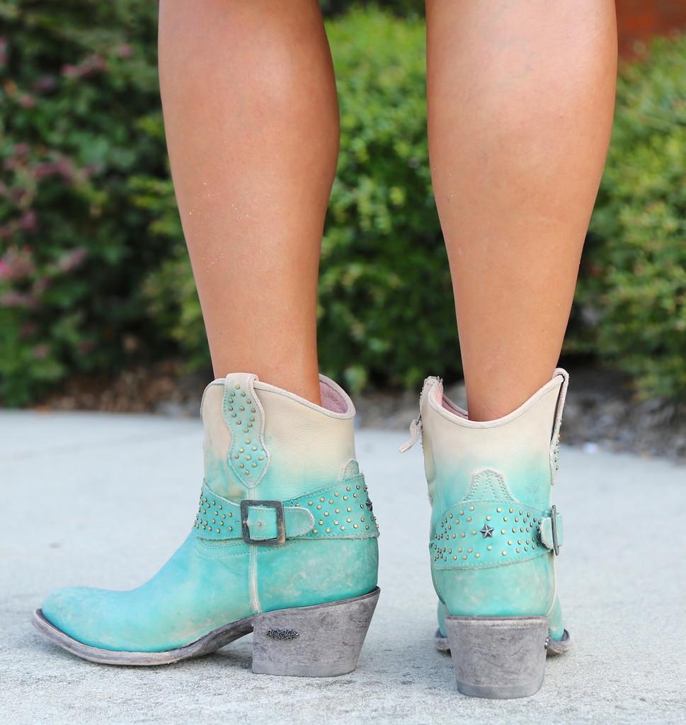 Miss Macie Fine-N-Dandy Turquoise Boots U8000-02 Heel