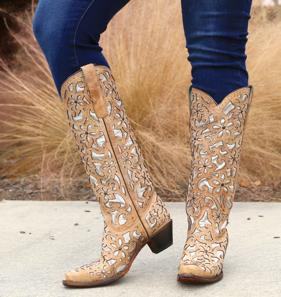 Corral Sand Inlay Embroidery Studs Tall Top Boots A3673 Photo