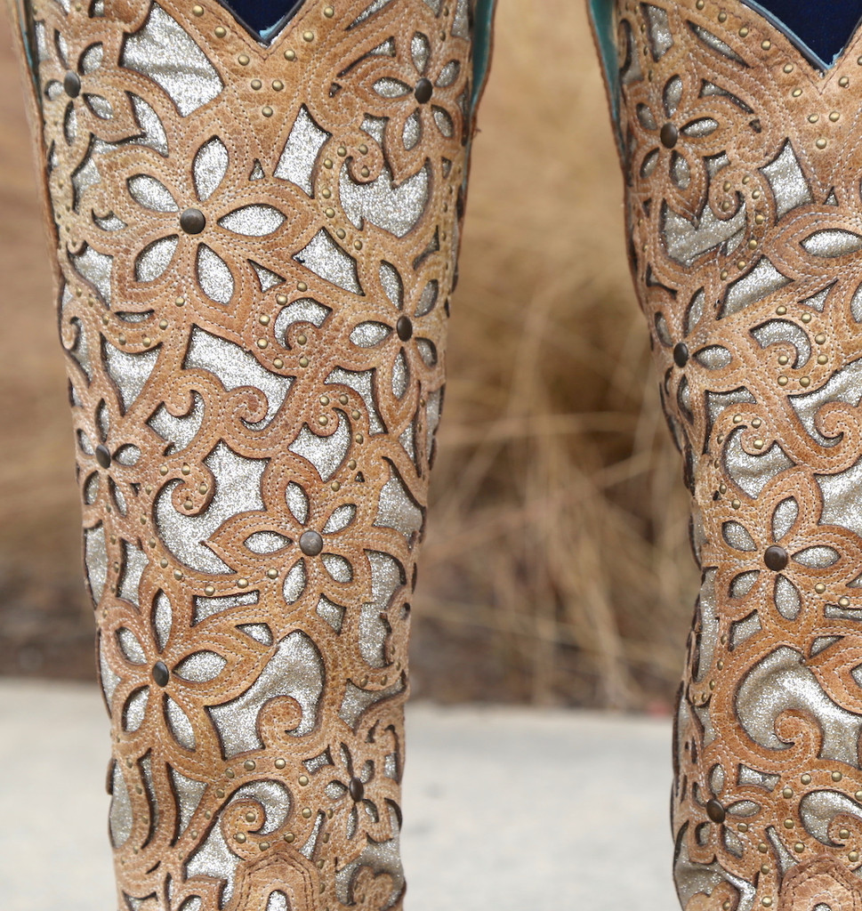 Corral Sand Inlay Embroidery Studs Tall Top Boots A3673 Detail