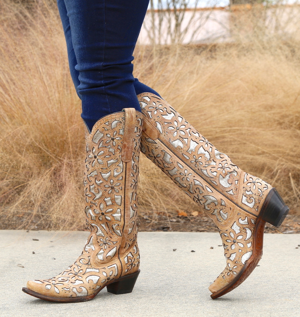 Corral Sand Inlay Embroidery Studs Tall Top Boots A3673 Picture