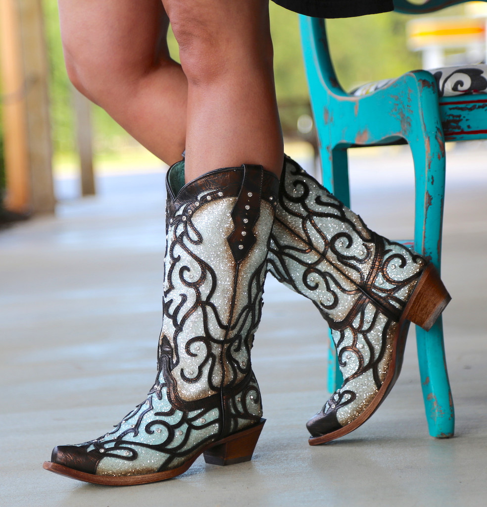 Corral Sky Blue Glitter and Studs Boots C3460 Photo