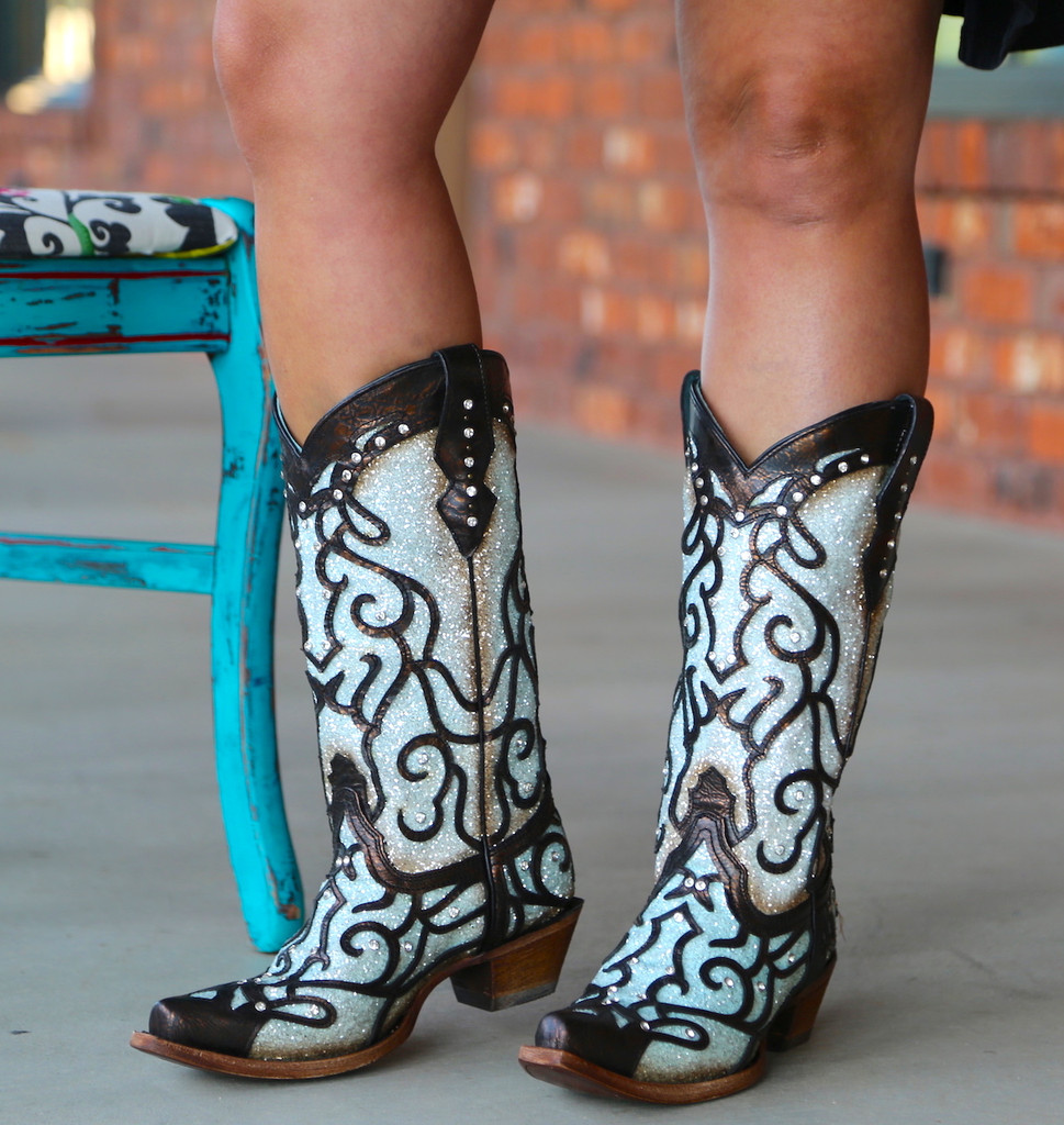 Corral Sky Blue Glitter and Studs Boots C3460 Picture