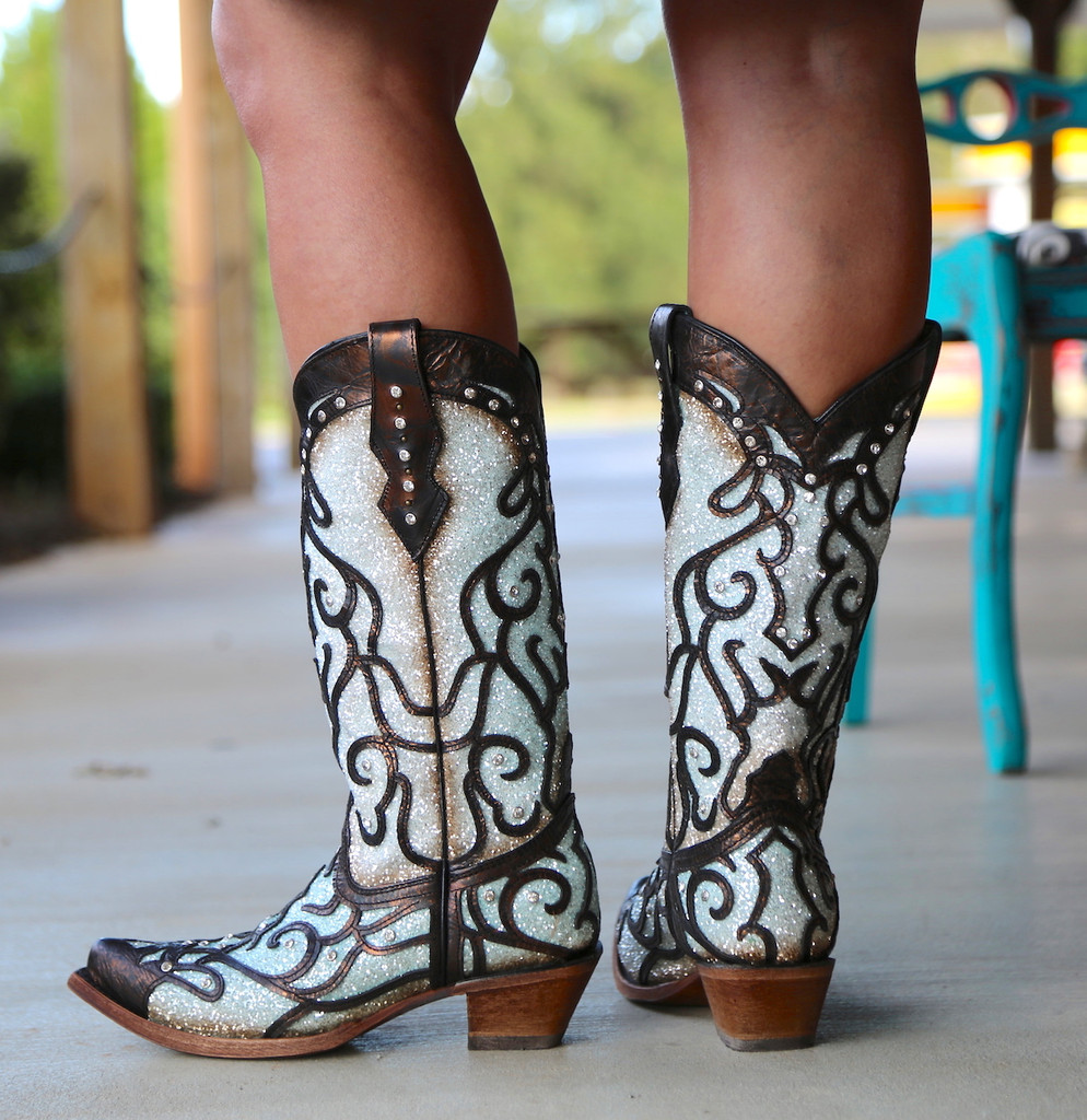 Corral Sky Blue Glitter and Studs Boots C3460 Heel