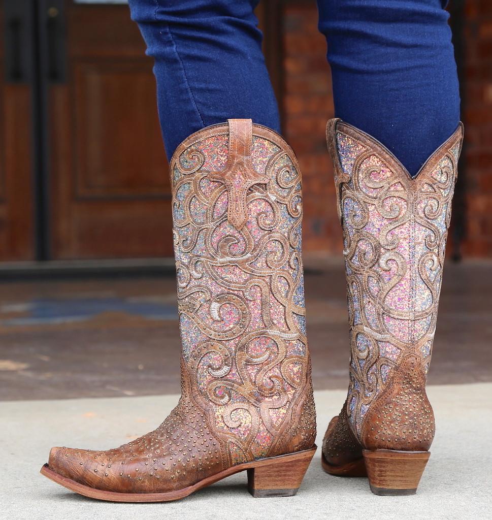 Corral Cognac Purple Glitter Inlay Studs Boots C3467 Heel