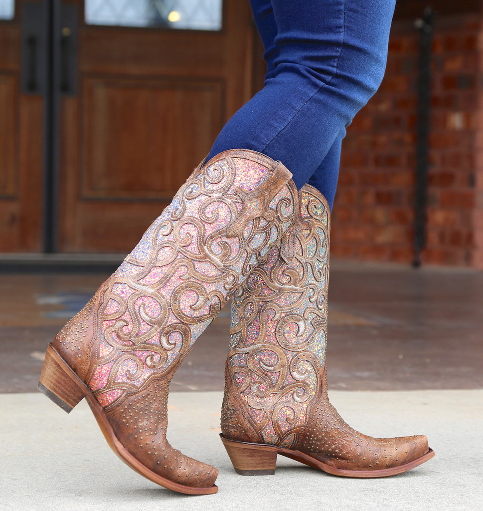 Corral Cognac Purple Glitter Inlay Studs Boots C3467 Walk