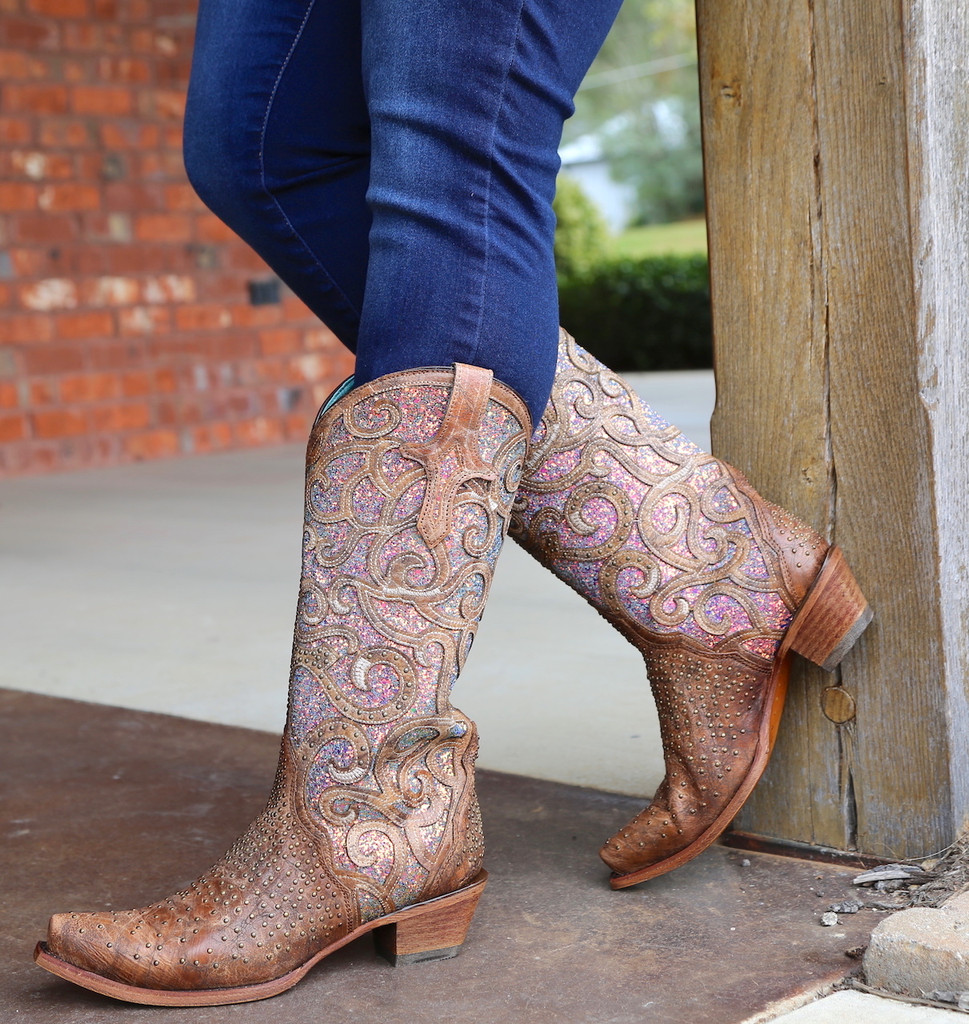 Corral Cognac Purple Glitter Inlay Studs Boots C3467 Photo