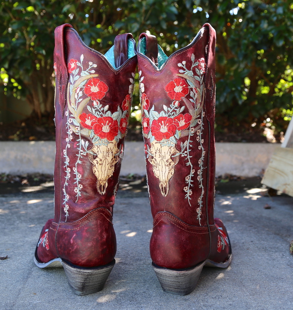 Corral Red Deer Skull and Floral Embroidery Boots A3712 Heel