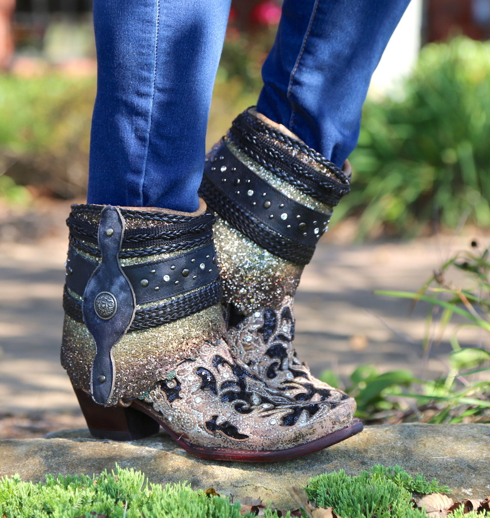 Corral Brown Glitter Flipped Shaft Ankle Boot A3691 Picture