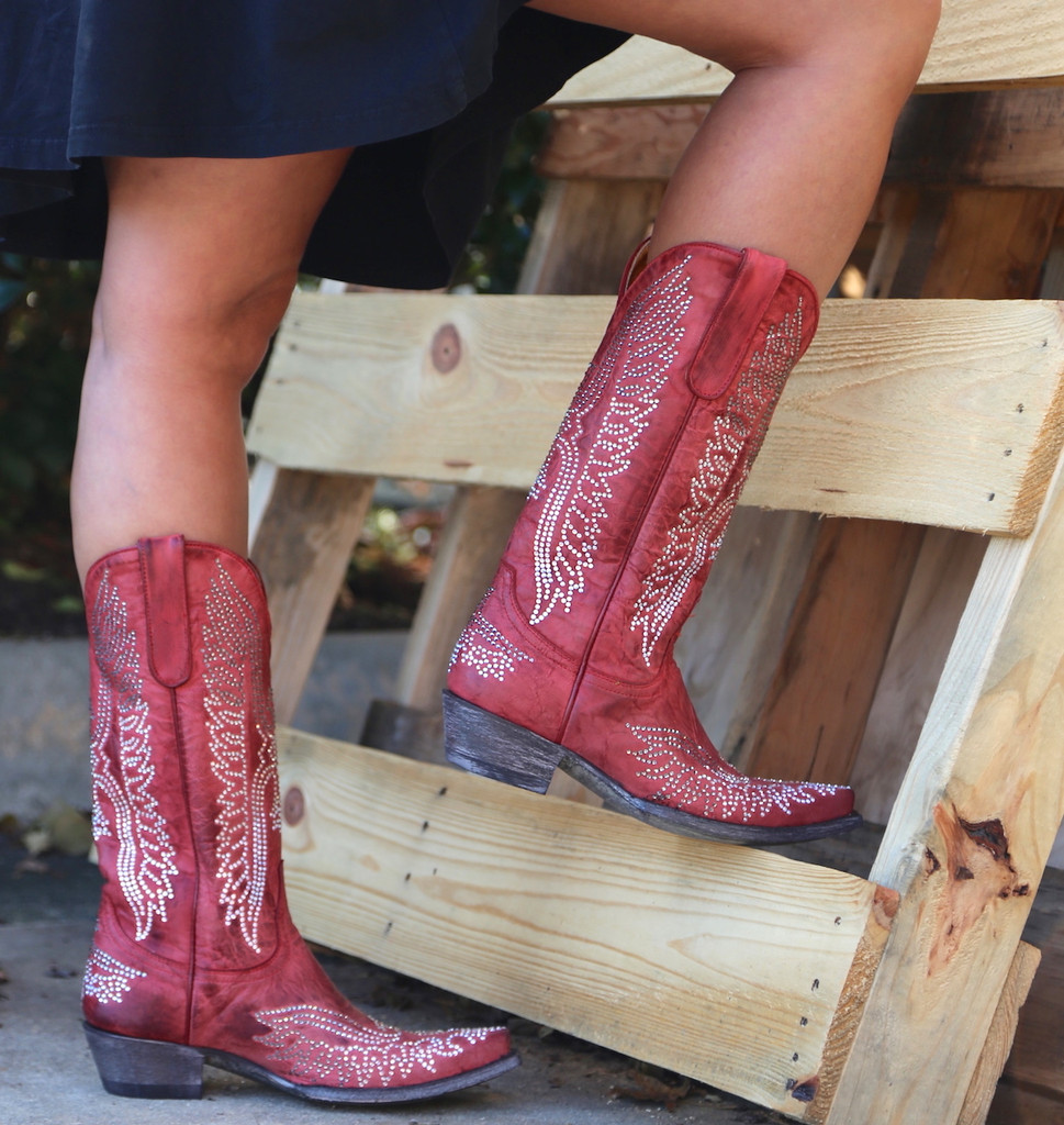 Old Gringo Eagle Crystal Red Boots L443-16 Back