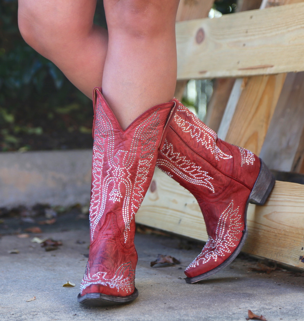 Old Gringo Eagle Crystal Red Boots L443-16 Picture
