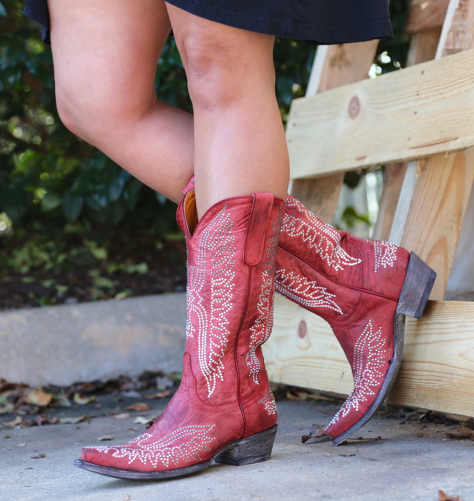 Old Gringo Eagle Crystal Red Boots L443-16 Photo