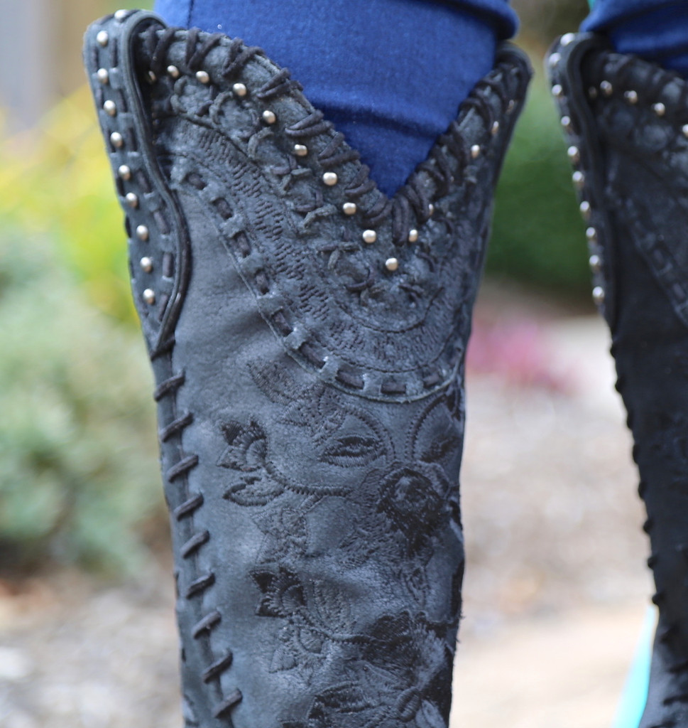 Double D by Old Gringo Almost Famous Black Boots DDL026-4 Embroidery