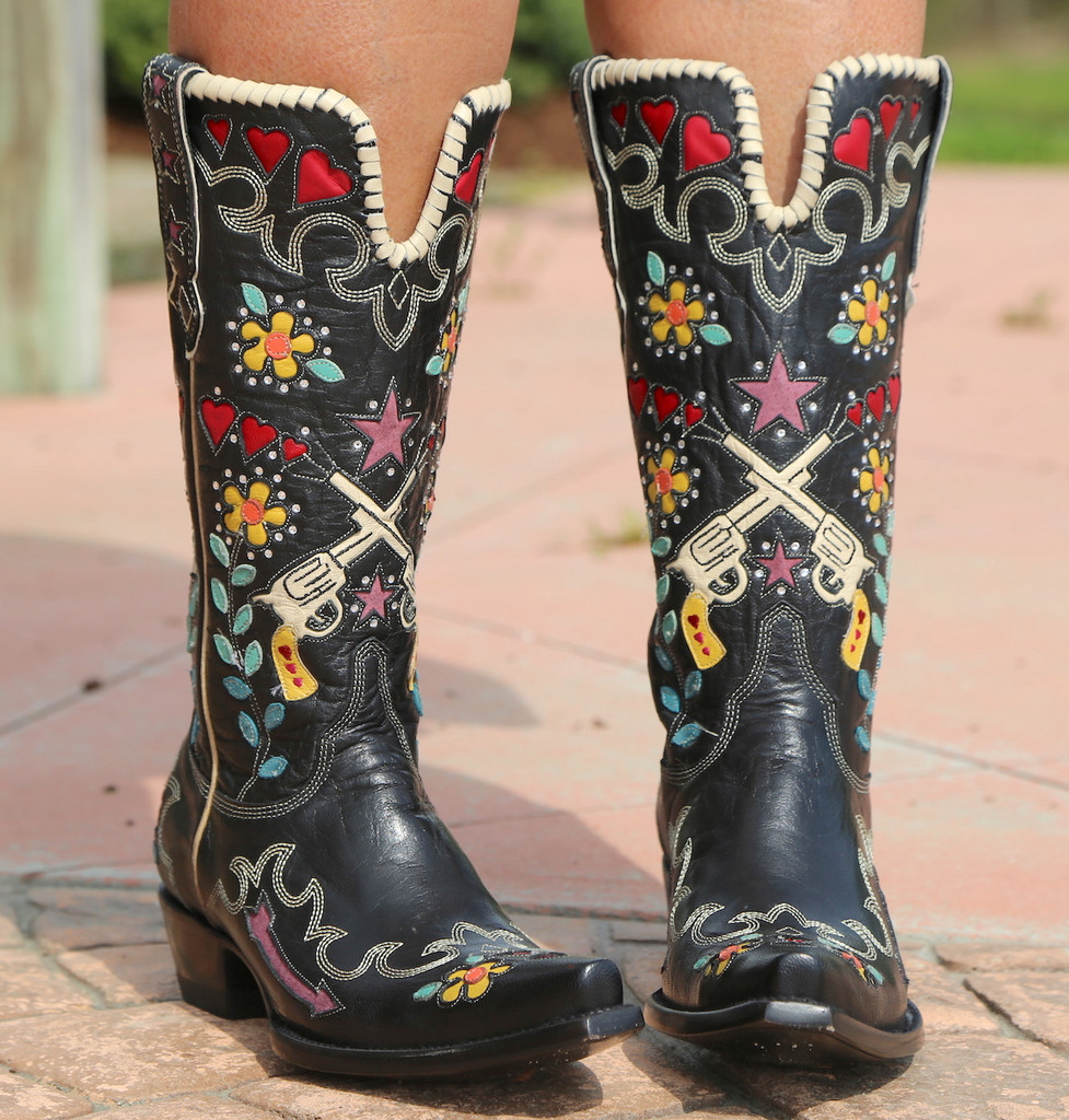 Double D by Old Gringo Cowgirl Bandit Black Boots DDL041-1 Image