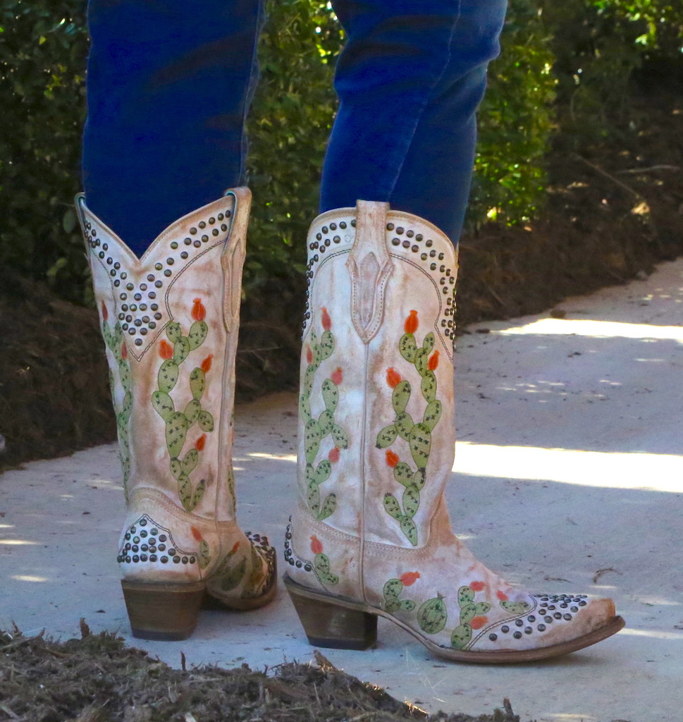 Corral Saddle Nopal Cactus Embroidery and Studs Boots C3463 Heel