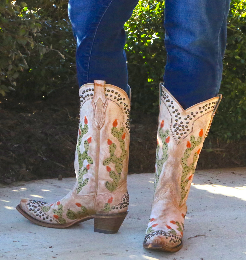 Corral Saddle Nopal Cactus Embroidery and Studs Boots C3463 Image