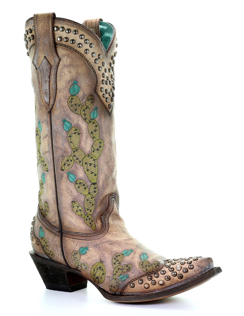 Corral Tobacco Nopal Cactus Embroidery and Studs Boots C3464 Picture