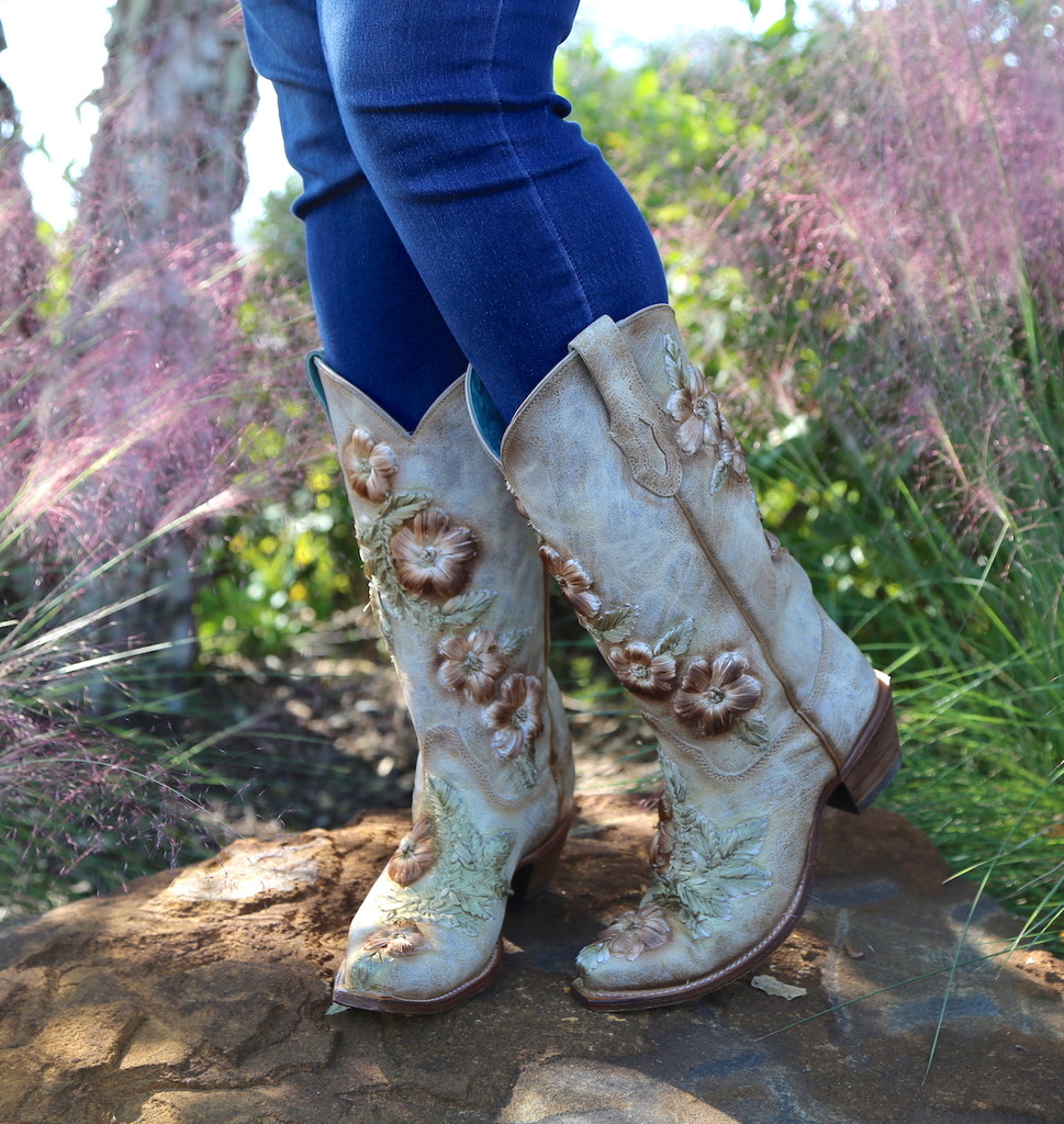 Corral Bone Hand Painted and Floral Woven Boots C3444 Image