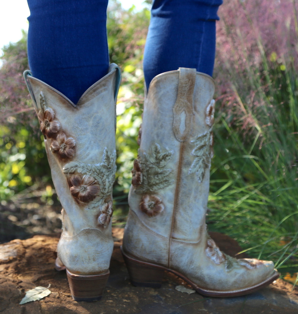 Corral Bone Hand Painted and Floral Woven Boots C3444 Heel