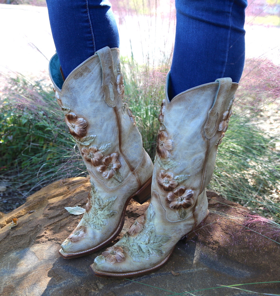 Corral Bone Hand Painted and Floral Woven Boots C3444 Picture