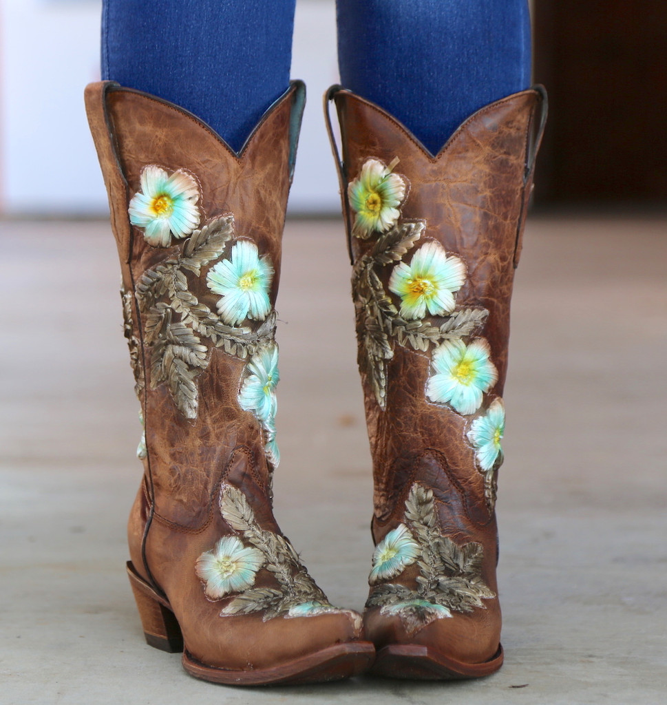 Corral Tobacco Hand Painted and Floral Woven Boots C3443 Live