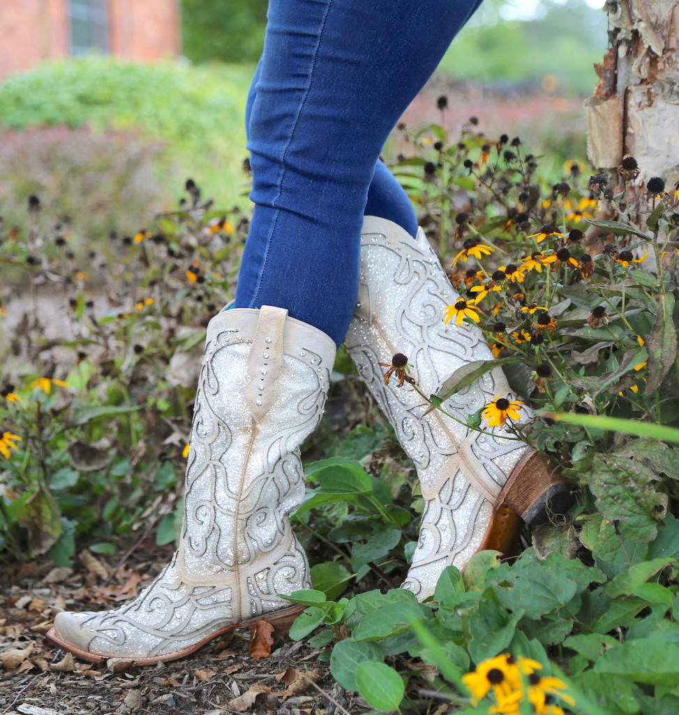 Corral White Glitter Inlay and Crystals Boots C3434 Side