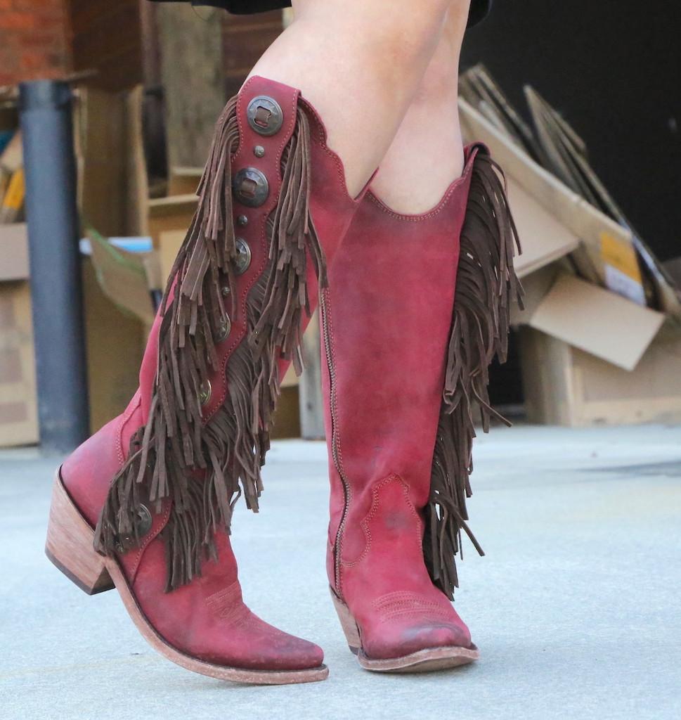 Liberty Black Ophelia Rojo Boots LB712953 Fringe