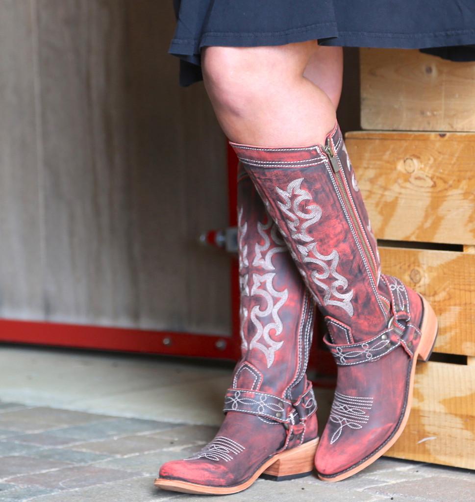 Liberty Black Biker Vintage Rojo Boots LB711135 Toe