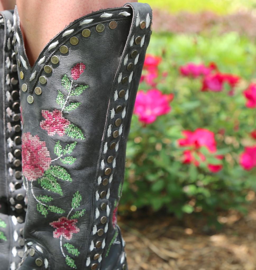 Junk Gypsy By Lane Needlepoint Black Boots JG0053A Detail