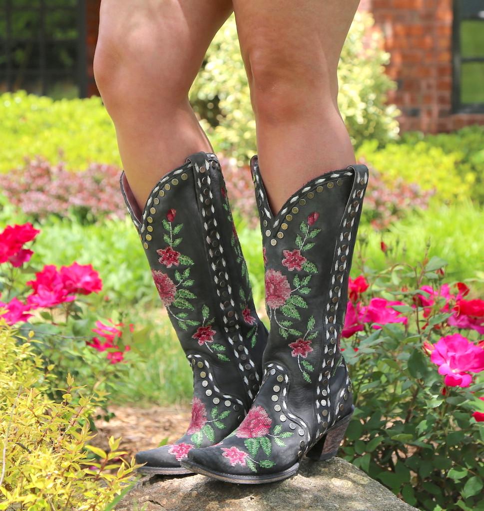 Junk Gypsy By Lane Needlepoint Black Boots JG0053A Image