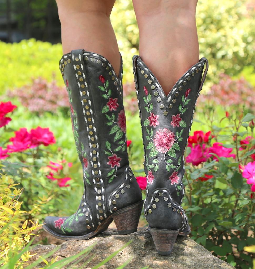 Junk Gypsy By Lane Needlepoint Black Boots JG0053A Heel