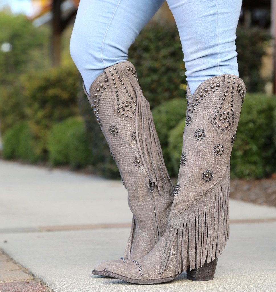 Old Gringo Savannah Tall Grey Boots L3089-2 Side