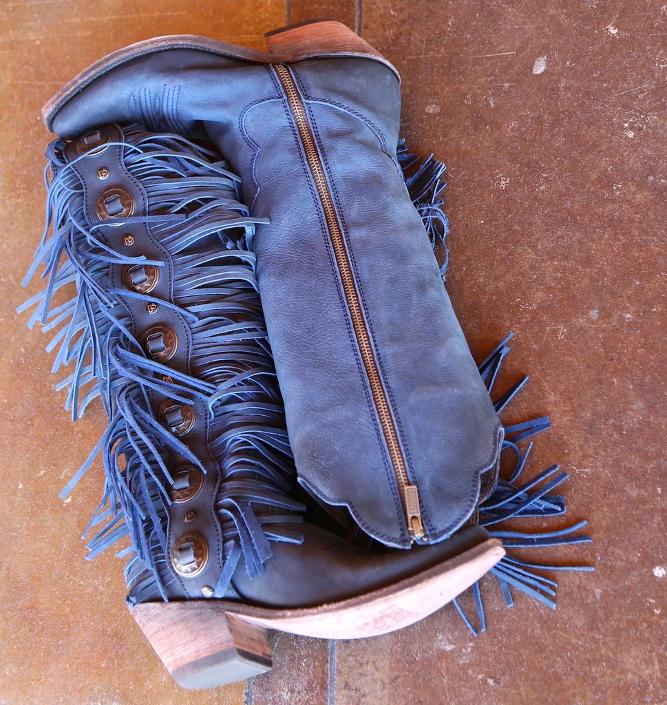 Liberty Black Ophelia Russian Blue Boots LB712953 Conchos