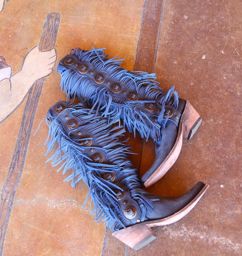 Liberty Black Ophelia Russian Blue Boots LB712953 Fringe