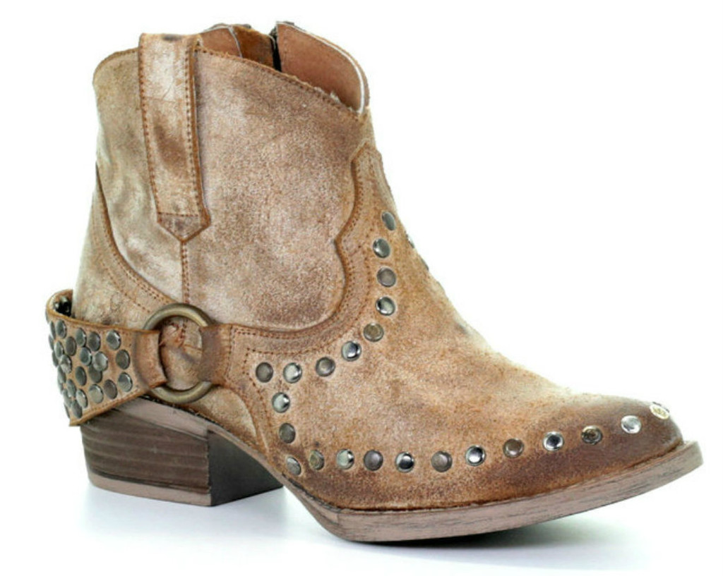 Corral Honey Harness and Studs Round Toe Q5065
