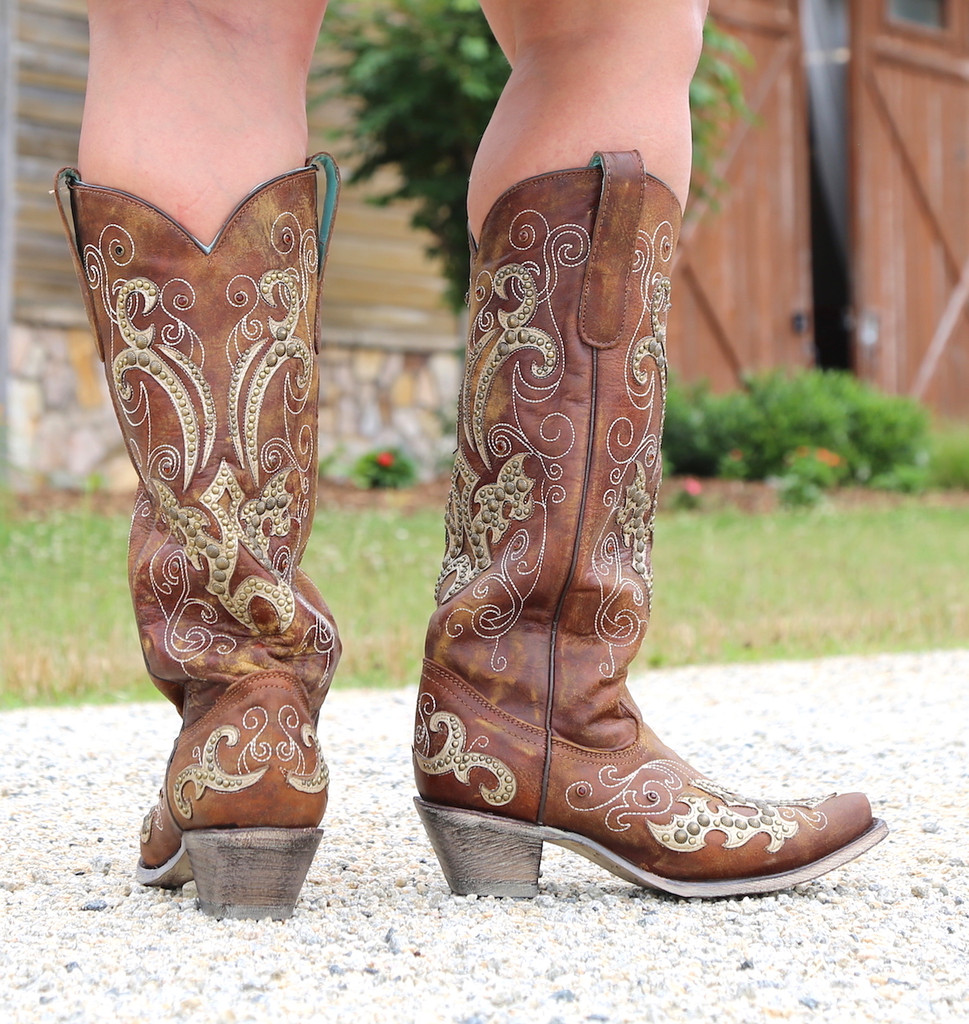 Corral Brown Overlay Embroidery Studs and Crystals Boots A3638 Heel