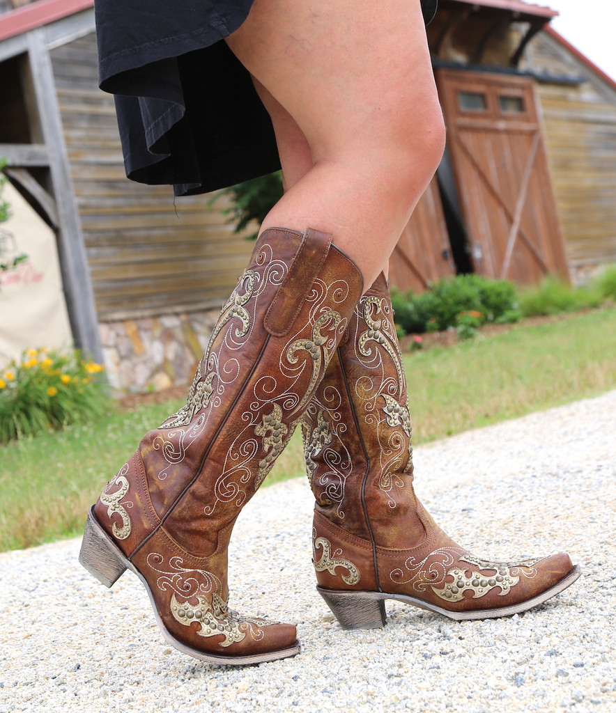 Corral Brown Overlay Embroidery Studs and Crystals Boots A3638 Image